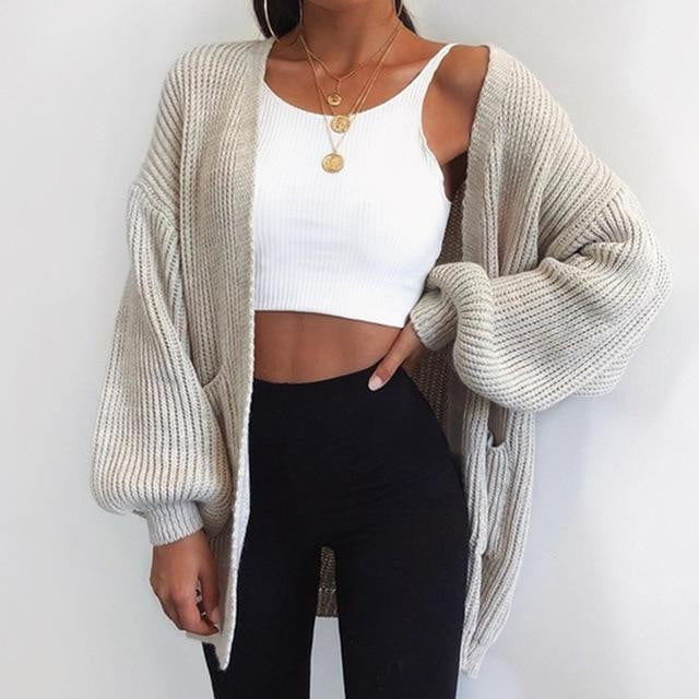 Winter Long Oversized Pocket Knitted Cardigan - klozetstyle.com