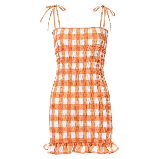 Plaid Ruffle Bodycon Orange Mini Dress