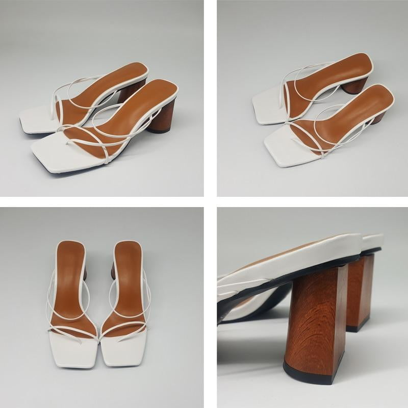 Wood Heel Vintage Square Toe Narrow Band High Heel Sandals - klozetstyle.com