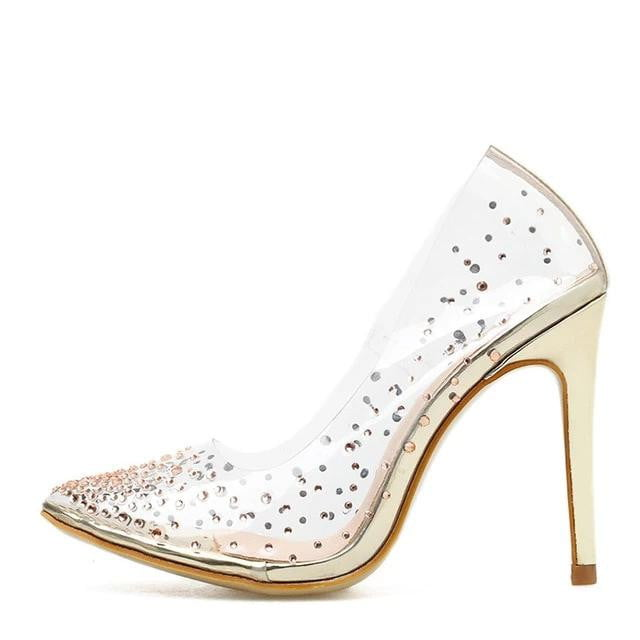 Golden Rhinestone PVC transparent High Heel Shoes