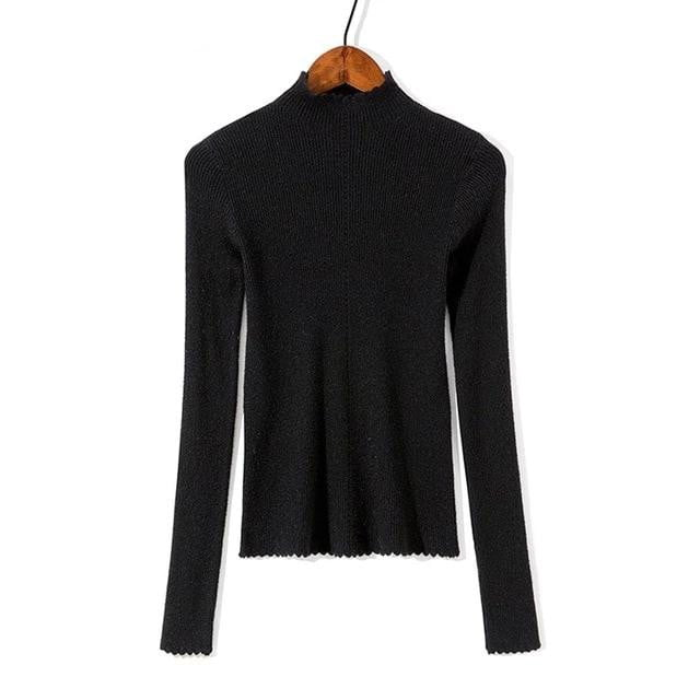 Basic Slim Thin Knitted Ruffles Sweaters Long Sleeve Casual Pullovers - klozetstyle.com