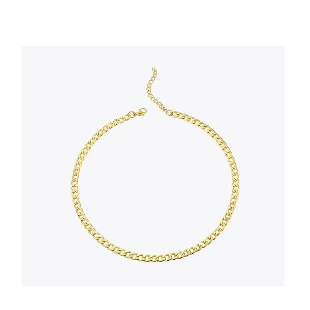 Link Chain Stainless Steel Statement Choker Necklace Jewelry - klozetstyle.com