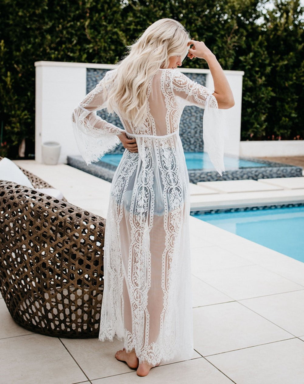 Hollow Out Long Kaftan Boho Cover-Ups