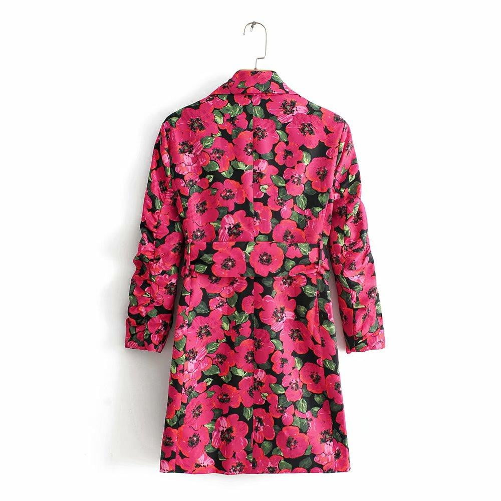 ,klozetstyle-com,Vintage pink floral print boho sashes blazers and jackets
