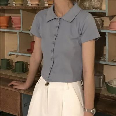 Preppy style short sleeve collar crop top - klozetstyle.com