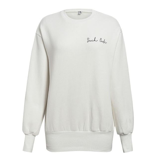 Casual White Long Sweatshirt Streetwear Long Sleeve Pullover O Neck Hoodies - klozetstyle.com