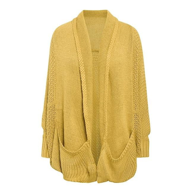 Casual Long Knitwear Solid Pockets Loose Sweater Cardigans Plus Size - klozetstyle.com