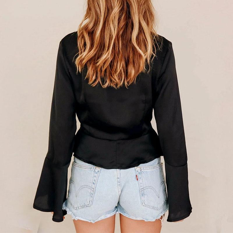 V Neck Flare Sleeve Satin Autumn Winter Blouse Shirts Solid Lace up Tops - klozetstyle.com