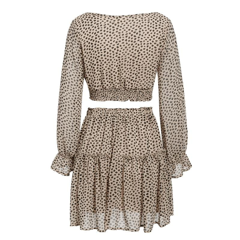 Leopard Print Autumn Winter Ruffle Plus Size Long Sleeve Crop Top and Skirt Set - klozetstyle.com
