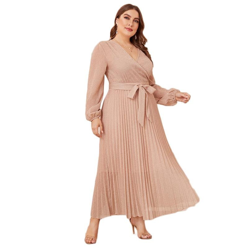 ,klozetstyle-com,Plus Size Surplice Neck Lantern Sleeve Pleated Glitter High Waist Wrap Glamorous Maxi Dresses