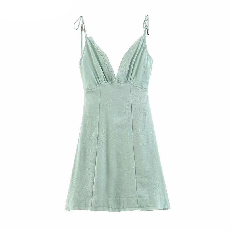 ,klozetstyle-com,Sleeveless Backless Bow Tie Vintage Linen Summer Dress