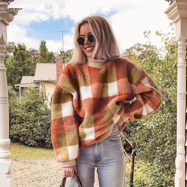 Vintage lambswool plaid hoodies sweatshirt O neck loose pullover warm coats - klozetstyle.com
