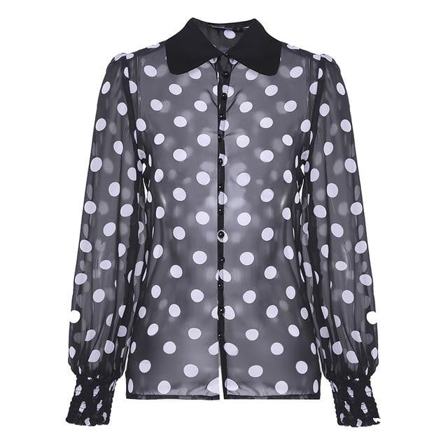 Plus Size Lapel Long Lantern Sleeve Dot Print Blouse - klozetstyle.com