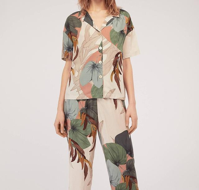 Short-sleeved Cropped Trousers Pajamas Set Printing Lapel Casual Large Size - klozetstyle.com