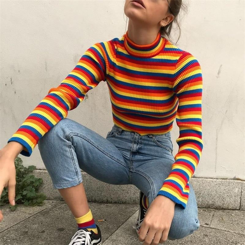Striped Shirt Crop Sweater Rainbow Long Sleeved Pullover Winter Knitted Sweater - klozetstyle.com