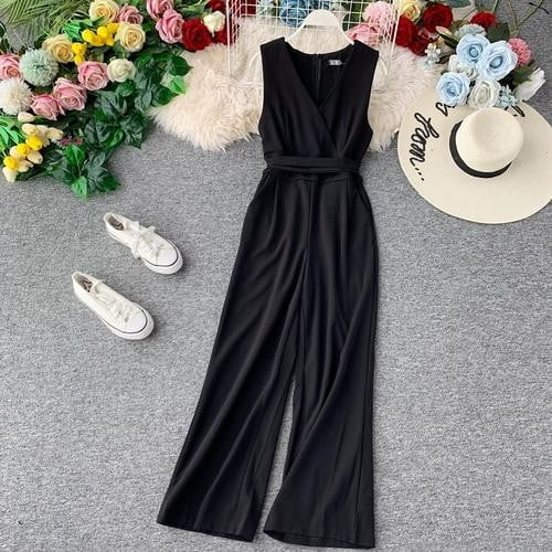 Spring Summer New V-neck Jumpsuit Slim High Waist Sleeveless Wide-legged Solid Color Overalls - klozetstyle.com