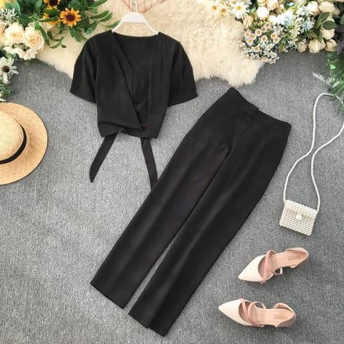 V Neck Short Sleeve High Waist Short Crop Tops + Trousers Two Piece Sets - klozetstyle.com