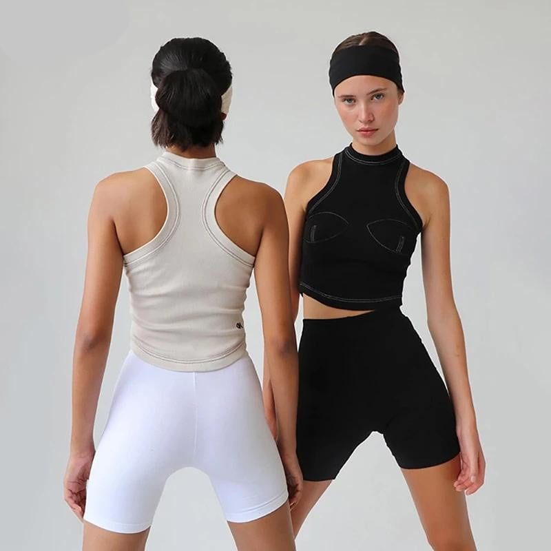 Knitted Stretch Slim Fit Sleeveless Crop Tank Top - klozetstyle.com