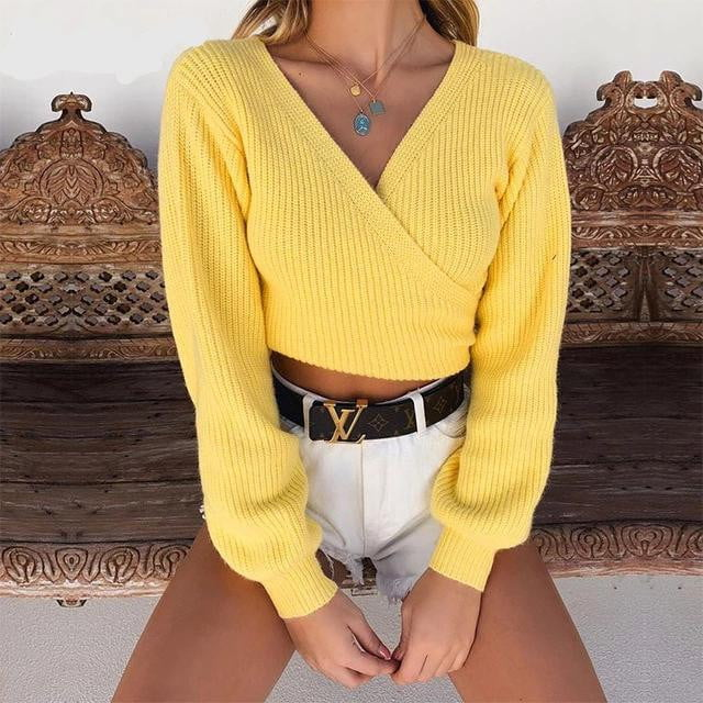 Back Bow Long Sleeve Crop Knitted Sweater - klozetstyle.com