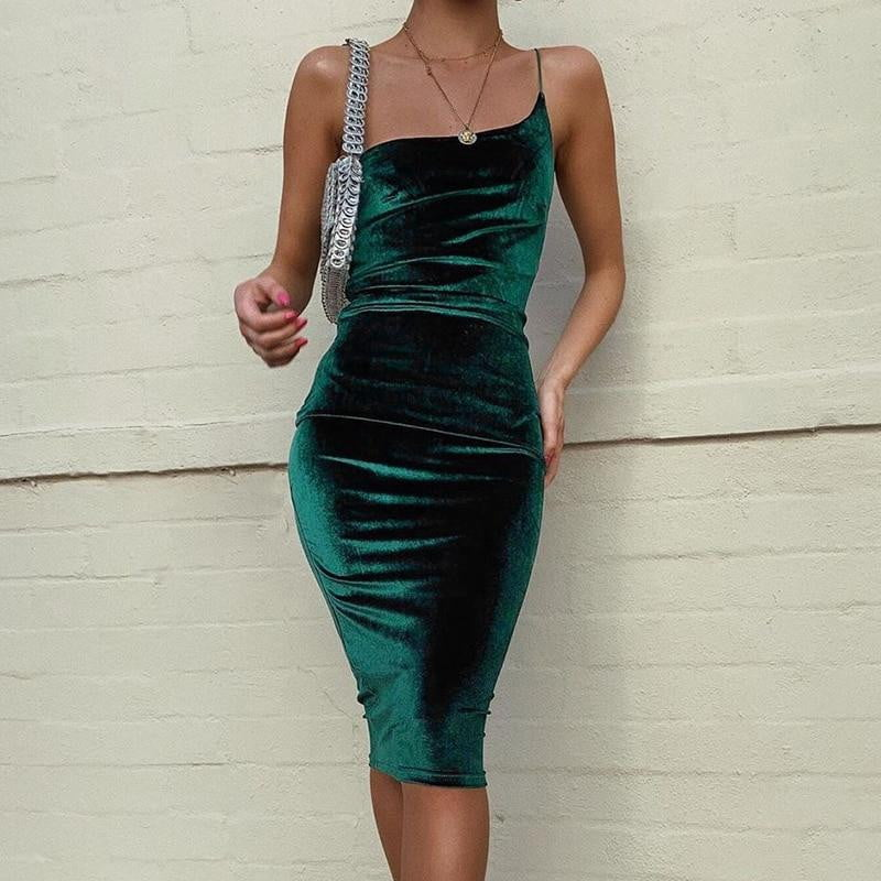 One Strap Skinny Bodycon Backless Party Dress - klozetstyle.com