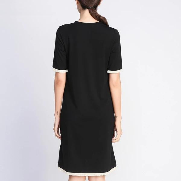 Tassel O-neck Knee-Length Plus Size Straight Dress - klozetstyle.com
