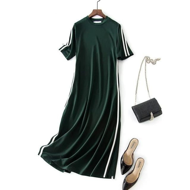 Summer Ribbon Knitted Long Casual Elegant O-Neck Straight Mid-Calf T Dress - klozetstyle.com