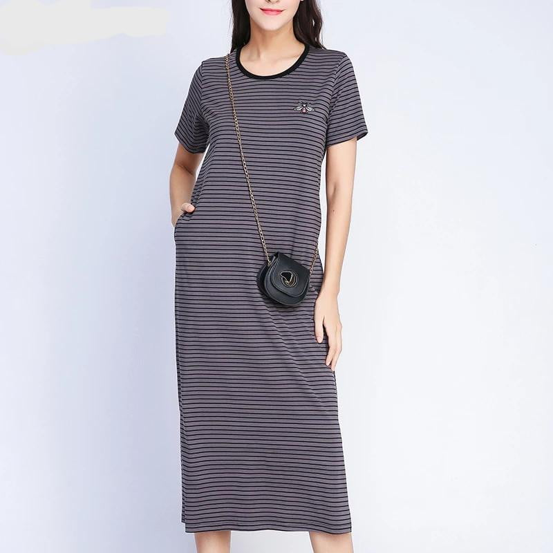 Long Black Striped Bee Embroidery Summer Casual Straight Ankle-Length Shirt Dress | Plus Size - klozetstyle.com