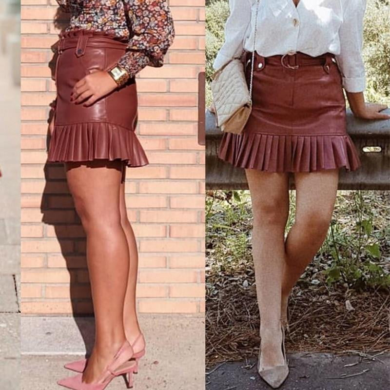 Sash belt PU leather ruffled high waist A-line mini skirt - klozetstyle.com