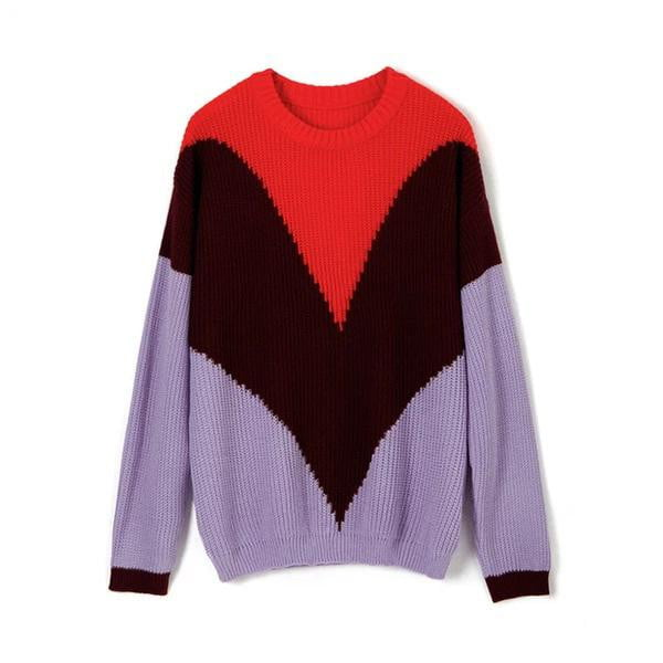 Contrast Color Long Sleeve O-Neck Knitted Sweater - klozetstyle.com