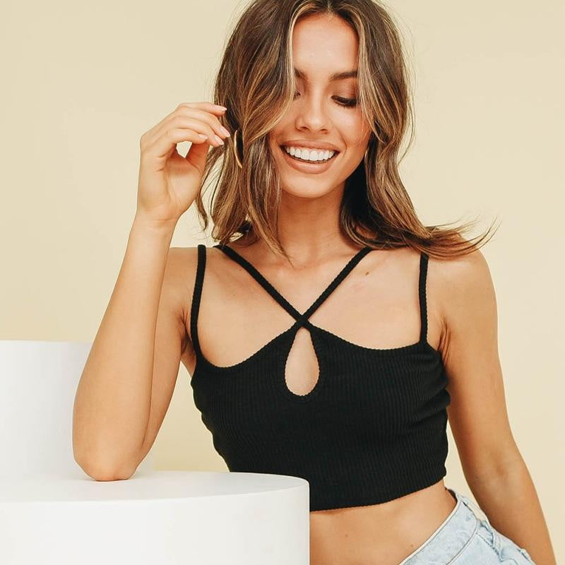 Knitted Spaghetti Strap Hollow Out Sleeveless Crop Top - klozetstyle.com