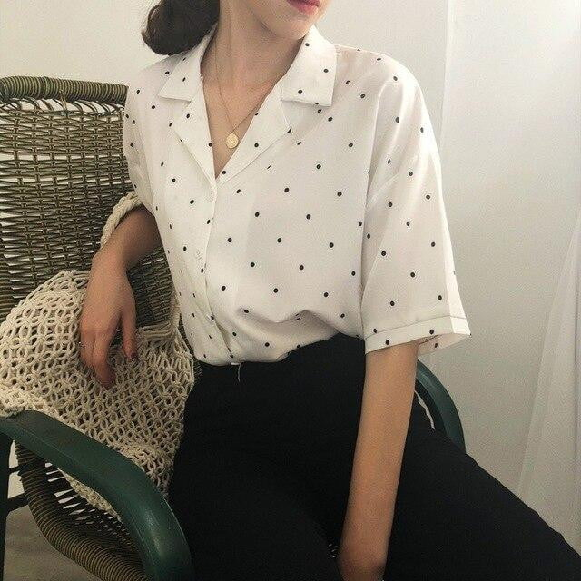 Polka Dot Summer Short Sleeve Turn Down Collar Casual Tops - klozetstyle.com