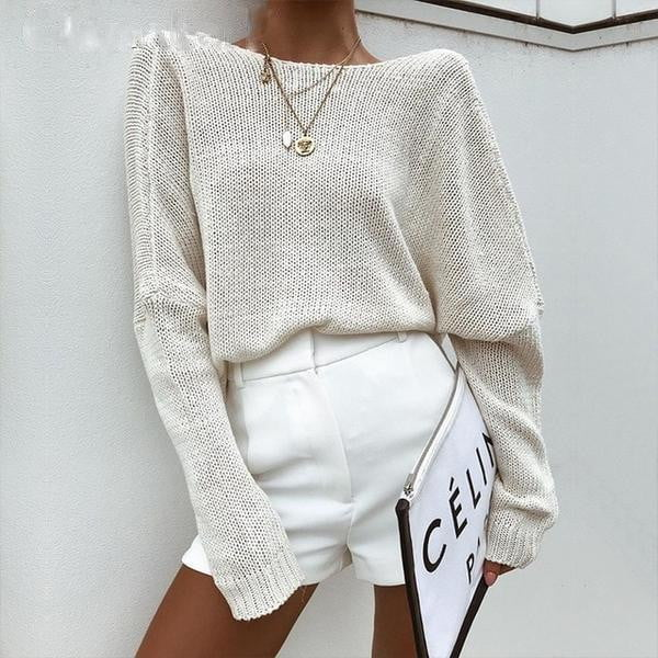 Batwing sleeve knit loose sweater backless blouse - klozetstyle.com