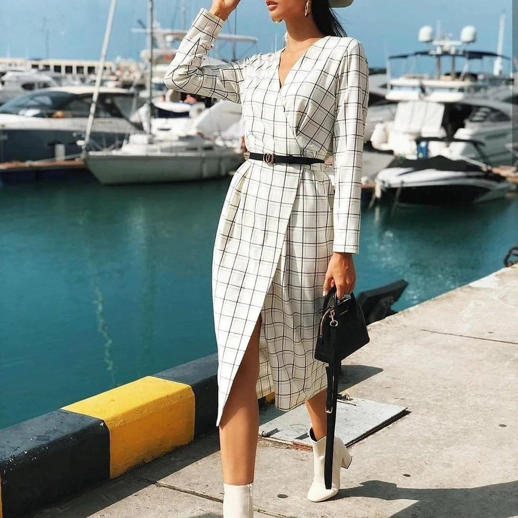 Long sleeve plaid v-neck strap high waist autumn chic wrap office dress - klozetstyle.com
