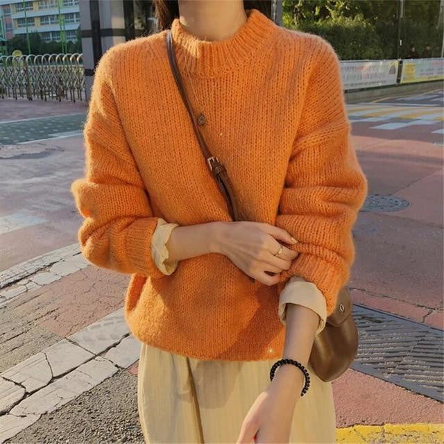 Solid O Neck Korean Style Knitted Long Sleeve Sweaters - klozetstyle.com