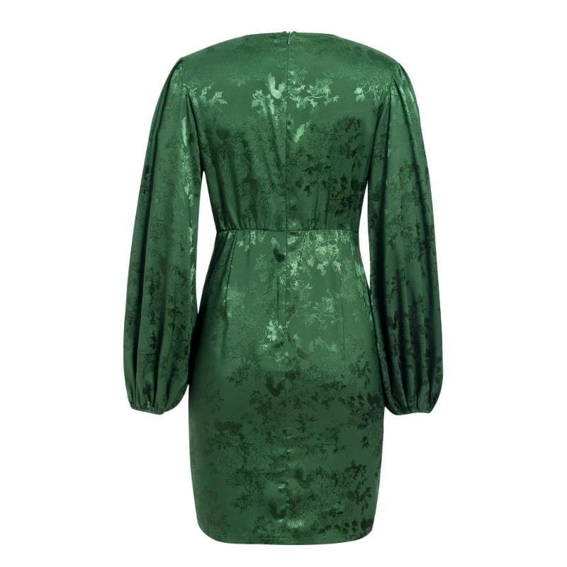 ,klozetstyle-com,Green v-neck ribbon lantern sleeve single breasted a-line mini party dress
