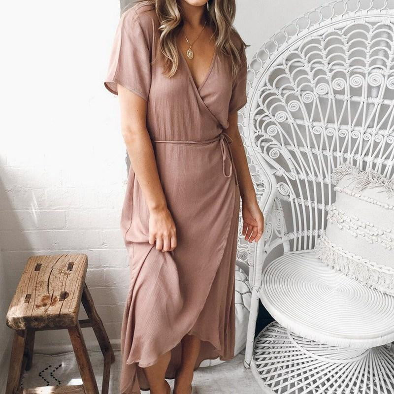 VNeck Irregular Casual Short Sleeve Cocktail Party Dress - klozetstyle.com