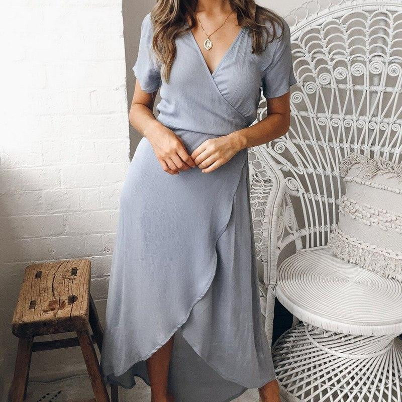,klozetstyle-com,VNeck Irregular Casual Short Sleeve Cocktail Party Dress
