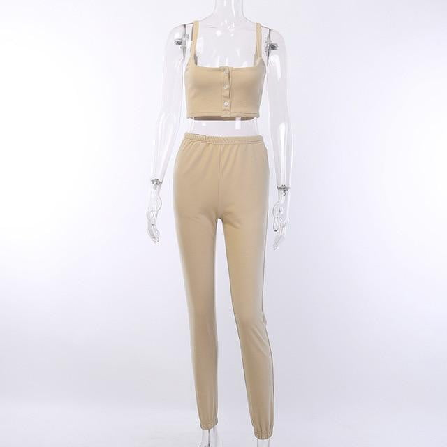 Crop Top and leggings Slim Ribbed Knitted Two-Pieces Sets - klozetstyle.com