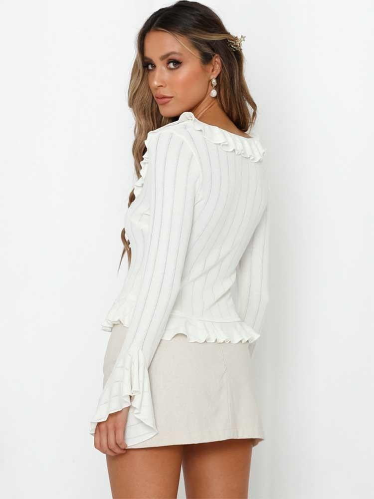 Brick Red Spring Knitted Long Sleeve Lace Up Striped Ruffles Tops - klozetstyle.com
