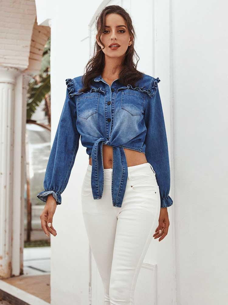 Blue Spring Long Sleeve Denim Lace Up Ruffles Button Tops - klozetstyle.com