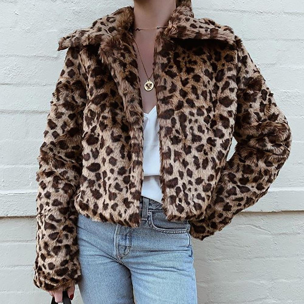 Faux Fur Leopard Print Turn-down Collar Three Quarter Sleeve Fluffy Cropped Outwear - klozetstyle.com