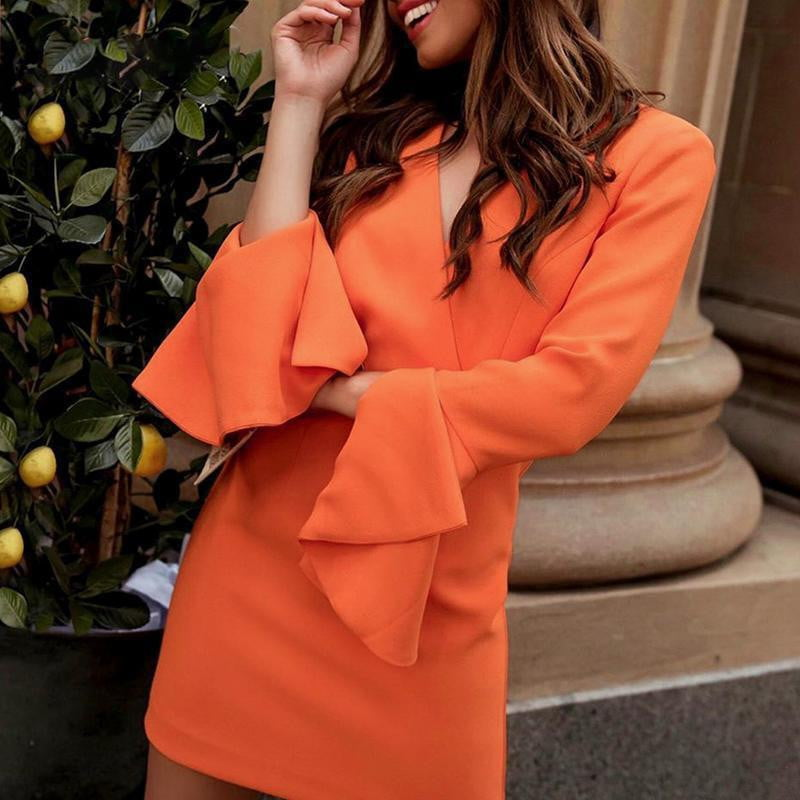 Ruffle Long Sleeve V Neck Slim Fit Zip Plus Size Blazer Dress - klozetstyle.com