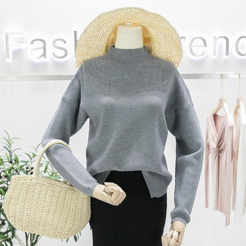 Oversized Turtleneck High Low Lem Loose Knitted Sweaters - klozetstyle.com