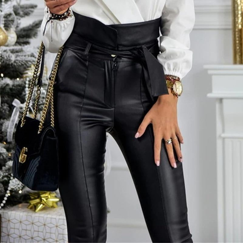 Faux Leather PU Sashes High Waist Pencil Pant With Belt - klozetstyle.com
