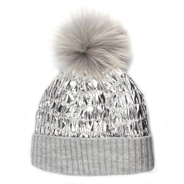 Winter wool knitted beanies snow reflective fabric real mink fur hat - klozetstyle.com