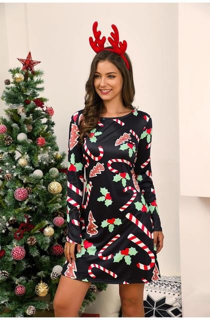 Winter Christmas Print Dress Plus Size Long Sleeve Casual Dress - klozetstyle.com