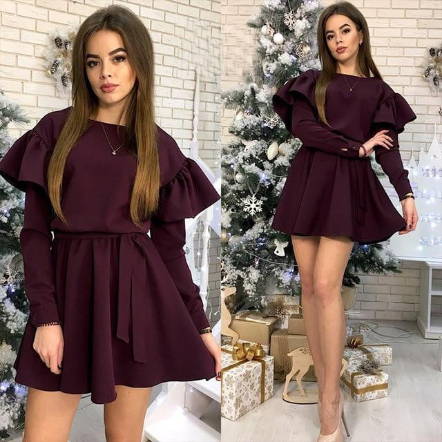 Sashes Ruffled A Line Long Sleeve O Neck Party Dress - klozetstyle.com