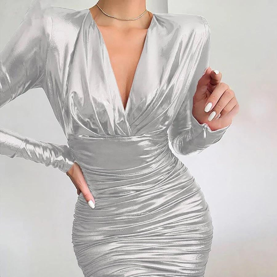 ,klozetstyle-com,High Quality V-neck Stretch Slim Bodycon Christmas Evening Dress