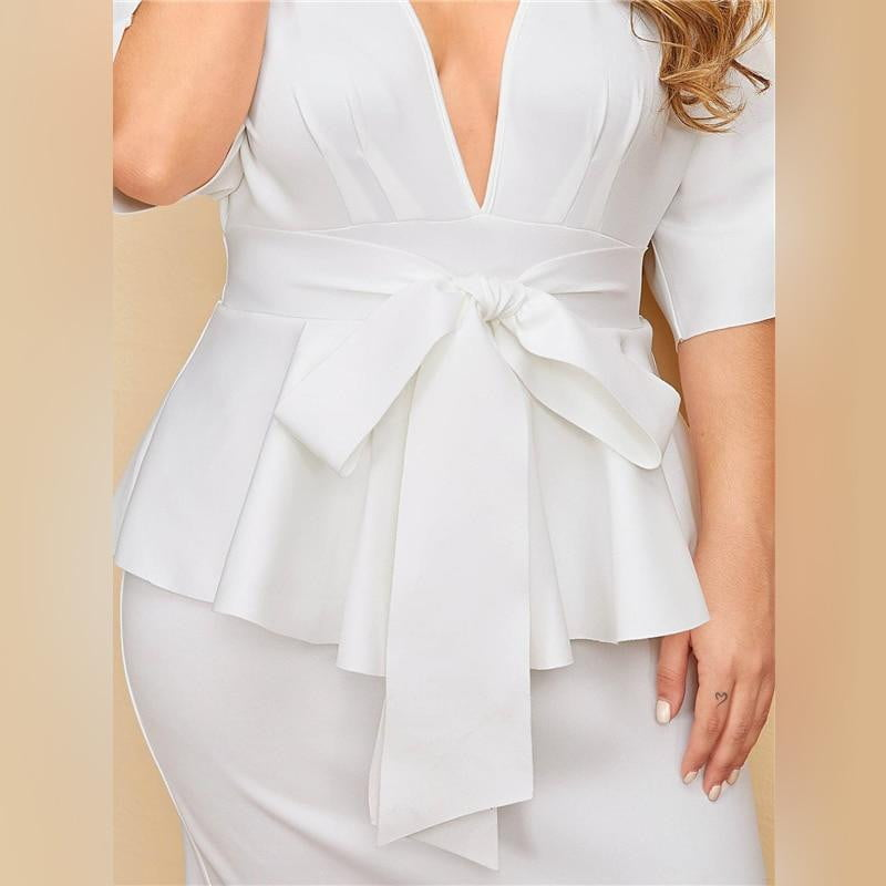 ,klozetstyle-com,Plus Size White Plunging Neck Dolman Sleeve Tie Waist Peplum Slit Bodycon Dress