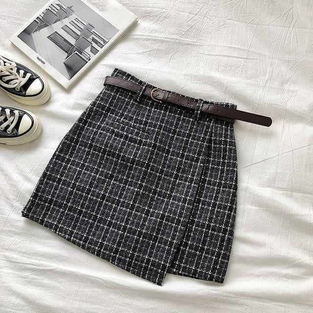 High Waist A-line Vintage Plaid Sashes Mini Skirt - klozetstyle.com